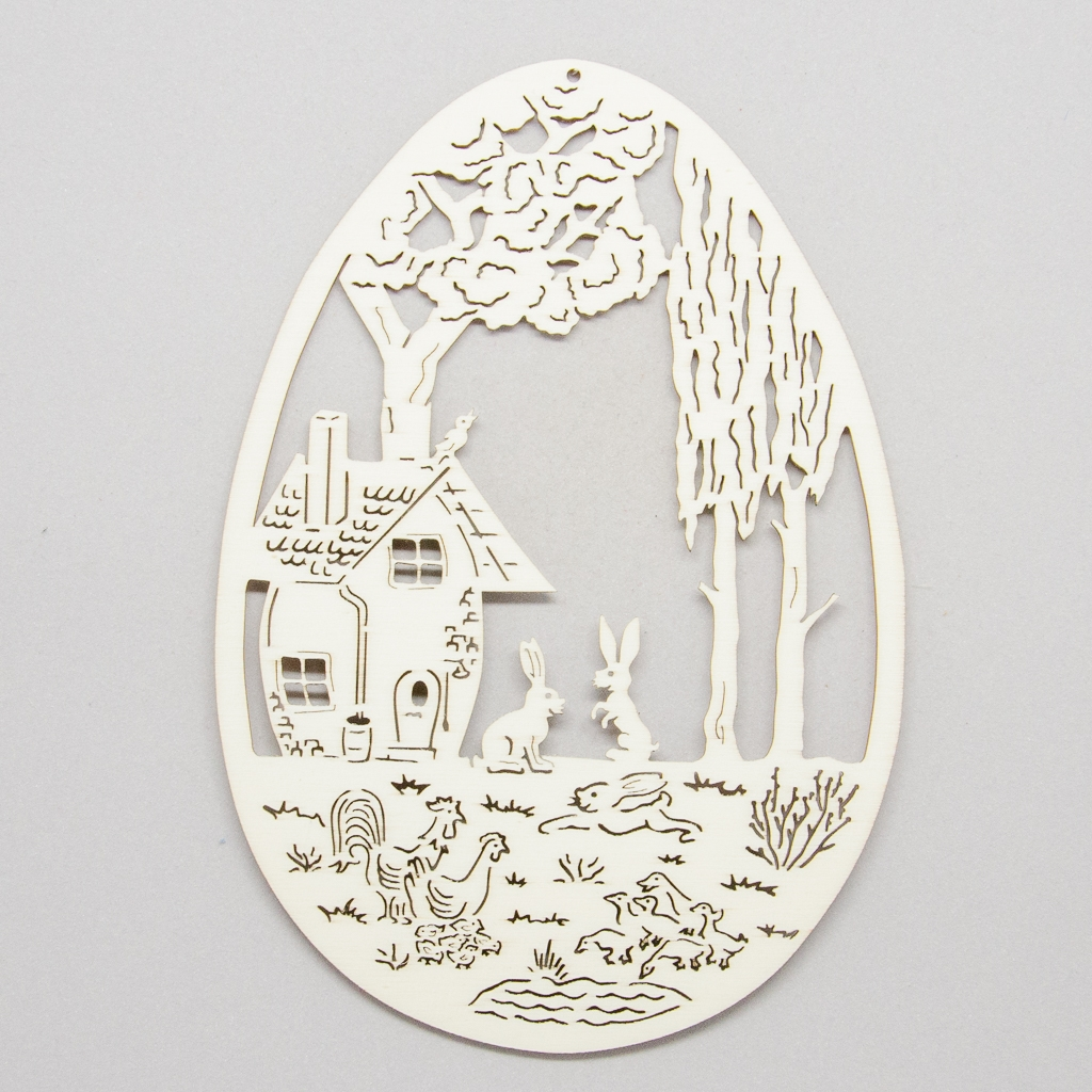 Osterei mit Hasenfamilie