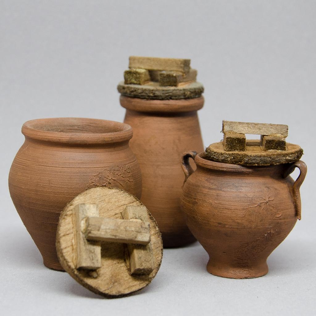 Keramiktöpfe antikisiert mit Holzdeckel 3er-Set