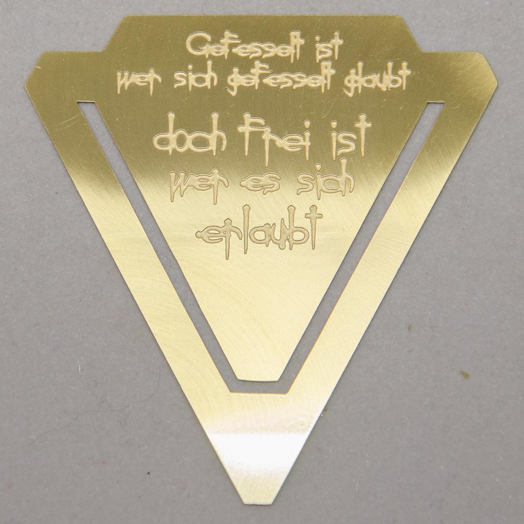 """Lesezeichen - Dreieck """"Gefesselt ist ....."""""""