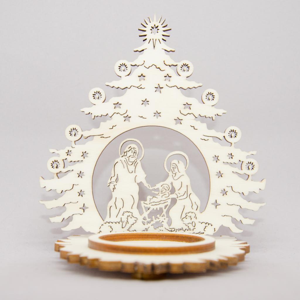 Teelichtdekoration Heilige Familie in Tannenbaum