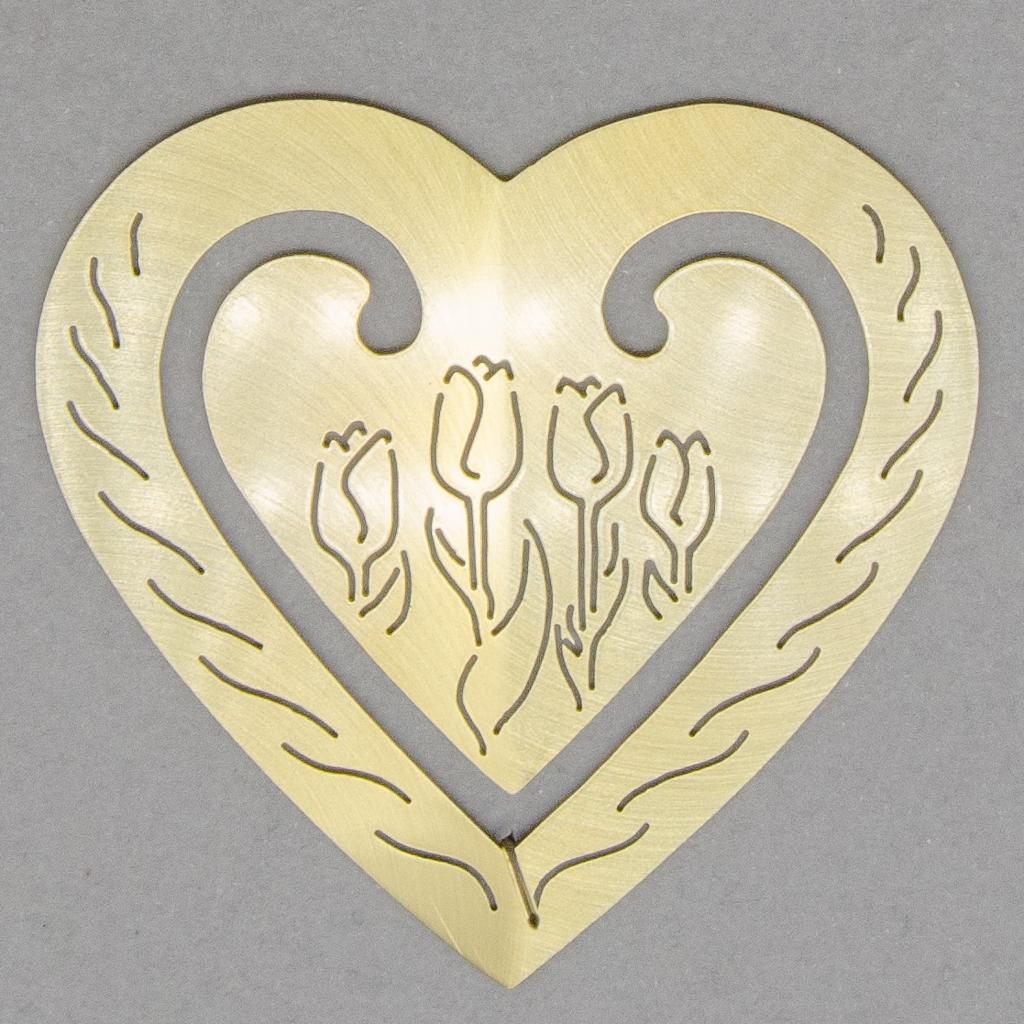 Lesezeichen - Herz mit Tulpen